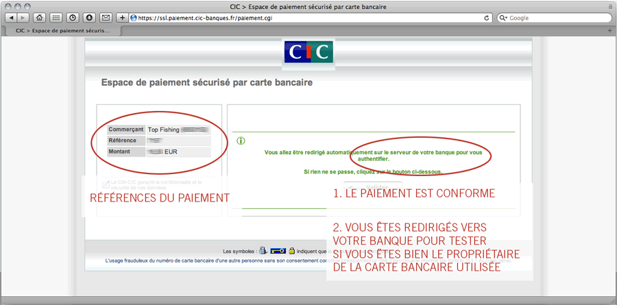 Validation CIC et redirection