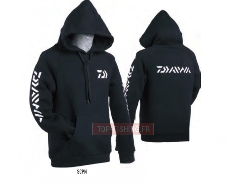 sweat capuche daiwa noir sweat shirt pour p che daiwa. Black Bedroom Furniture Sets. Home Design Ideas